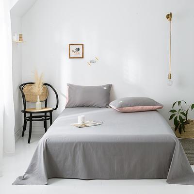 2020年春夏新品-全棉加厚水洗棉单品床单 160cmx230cm 浅灰