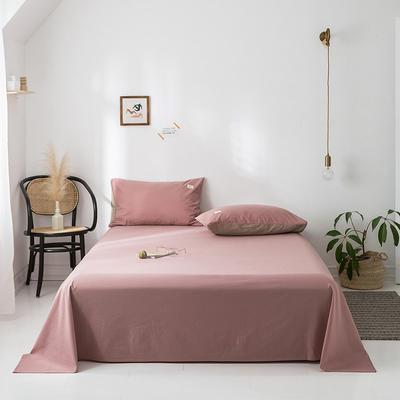 2020年春夏新品-全棉加厚水洗棉单品床单 160cmx230cm 珊瑚红