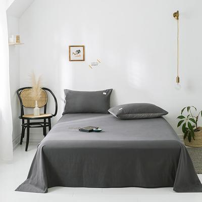 2020年春夏新品-全棉加厚水洗棉单品床单 120cmx230cm 深灰