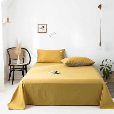2020年春夏新品-全棉加厚水洗棉单品床单 120cmx230cm 杏黄