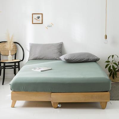 2020年春夏新品-全棉加厚水洗棉单品床笠 150cmx200cm 复古绿
