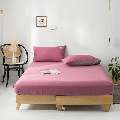 2020年春夏新品-全棉加厚水洗棉单品床笠 150cmx200cm 海棠红