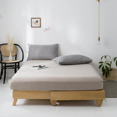 2020年春夏新品-全棉加厚水洗棉单品床笠 150cmx200cm 卡其