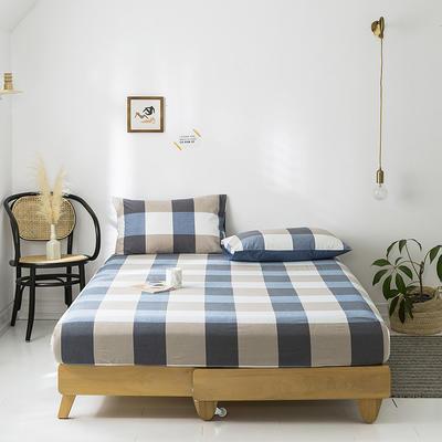 2020年春夏新品-全棉加厚水洗棉单品床笠 150cmx200cm 蓝调格