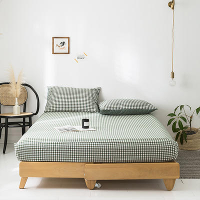 2020年春夏新品-全棉加厚水洗棉单品床笠 150cmx200cm 绿小格