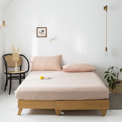 2020年春夏新品-全棉加厚水洗棉单品床笠 150cmx200cm 蜜粉格