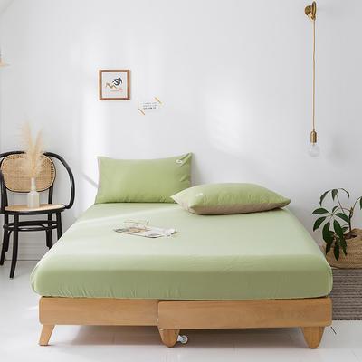 2020年春夏新品-全棉加厚水洗棉单品床笠 150cmx200cm 抹茶绿