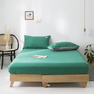 2020年春夏新品-全棉加厚水洗棉单品床笠 150cmx200cm 墨绿