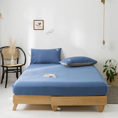 2020年春夏新品-全棉加厚水洗棉单品床笠 150cmx200cm 牛仔蓝