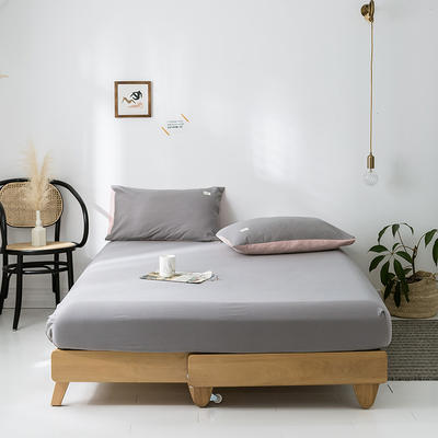 2020年春夏新品-全棉加厚水洗棉单品床笠 150cmx200cm 浅灰