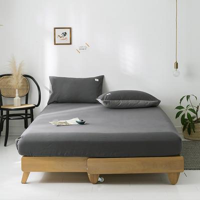 2020年春夏新品-全棉加厚水洗棉单品床笠 150cmx200cm 深灰