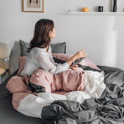 2020新款-全棉加厚水洗棉早安系列 四件套 床单款四件套1.5m(5英尺)床 早安粉灰