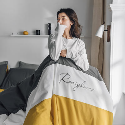 2020新款-全棉加厚水洗棉早安系列 四件套 床单款四件套1.5m(5英尺)床 早安姜黄