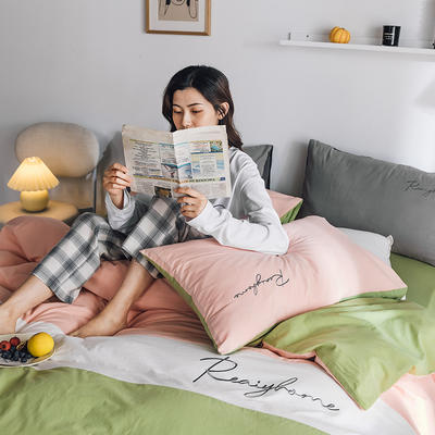 2020新款-全棉加厚水洗棉早安系列 四件套 床单款四件套1.5m(5英尺)床 早安抹茶绿