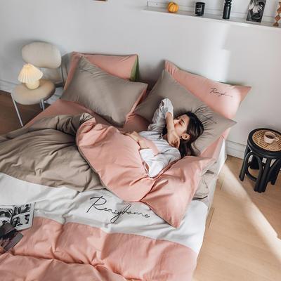 2020新款-全棉加厚水洗棉早安系列 四件套 床单款四件套1.5m(5英尺)床 早安浅粉