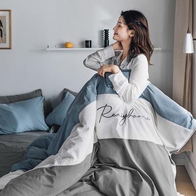 2020新款-全棉加厚水洗棉早安系列 四件套 床单款四件套1.5m(5英尺)床 早安浅灰