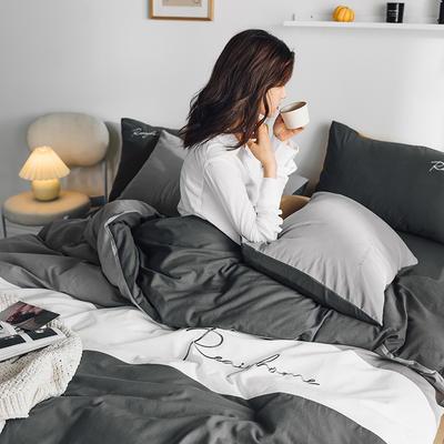 2020新款-全棉加厚水洗棉早安系列 四件套 床单款三件套1.2m(4英尺)床 早安绅士灰