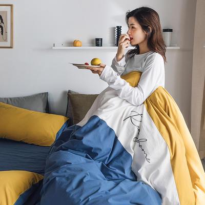 2020新款-全棉加厚水洗棉早安系列 四件套 床单款四件套1.5m(5英尺)床 早安深海蓝