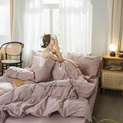 2020新款-全棉水洗棉刺绣四件套 床单款三件套1.2m(4英尺)床 秀-豆沙