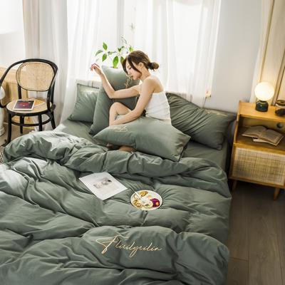 2020新款-全棉水洗棉刺绣四件套 床单款三件套1.2m(4英尺)床 秀-复古绿