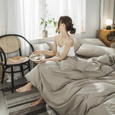 2020新款-全棉水洗棉刺绣四件套 床单款三件套1.2m(4英尺)床 秀-卡其