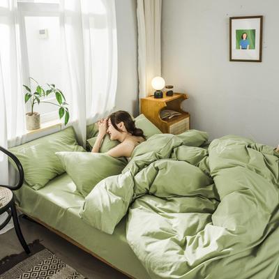 2020新款-全棉水洗棉刺绣四件套 床单款三件套1.2m(4英尺)床 秀-抹茶绿