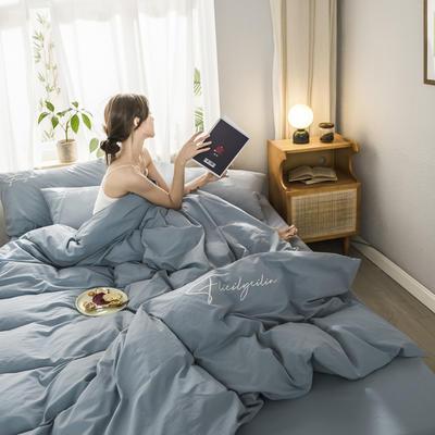 2020新款-全棉水洗棉刺繡四件套 床單款三件套1.2m(4英尺)床 秀-淺藍