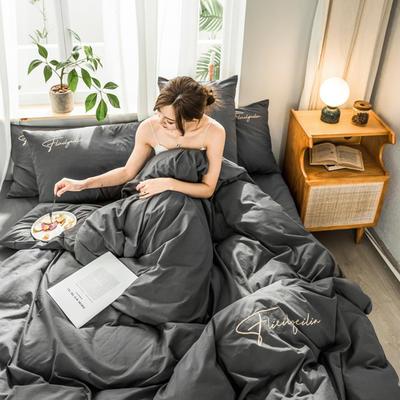 2020新款-全棉水洗棉刺绣四件套 床单款三件套1.2m(4英尺)床 秀-深灰