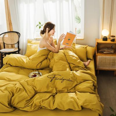 2020新款-全棉水洗棉刺繡四件套 床單款三件套1.2m(4英尺)床 秀-杏黃