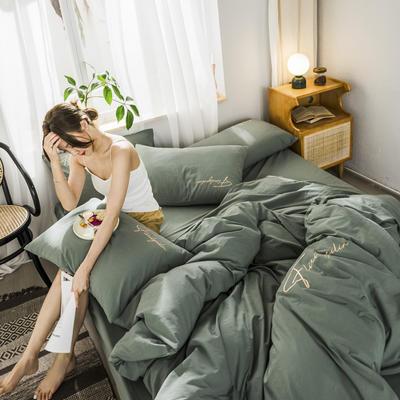 2020新款-全棉加厚水洗棉早安系列 四件套 床單款三件套1.2m(4英尺)床 秀-復古綠