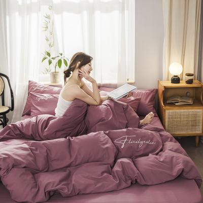 2020新款-全棉加厚水洗棉早安系列 四件套 床单款三件套1.2m(4英尺)床 秀-海棠红