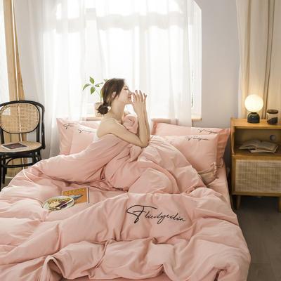 2020新款-全棉加厚水洗棉早安系列 四件套 床單款三件套1.2m(4英尺)床 秀-淺粉