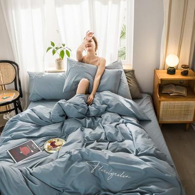 2020新款-全棉加厚水洗棉早安系列 四件套 床單款三件套1.2m(4英尺)床 秀-淺藍