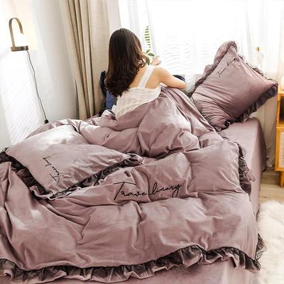2019新款-水晶绒蕾丝边四件套 床单款四件套1.5m(5英尺)床 蕾丝-豆沙