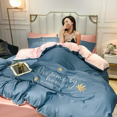 2020新款-水洗真絲四件套 床單款三件套1.2m(4英尺)床 楓葉-賓利藍