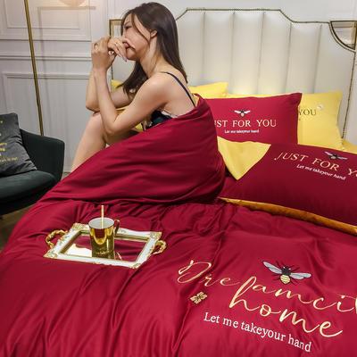 2020新款-水洗真絲四件套 床單款四件套1.5m(5英尺)床 蜜蜂-酒紅