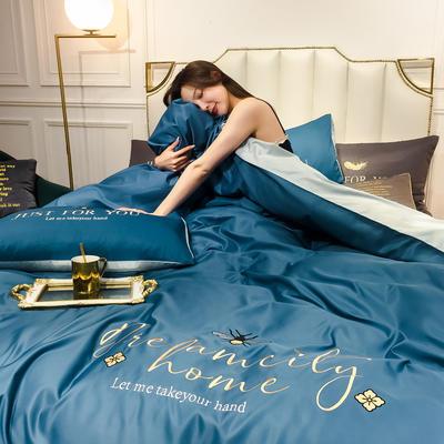 2020新款-水洗真絲四件套 床單款四件套1.5m(5英尺)床 蜜蜂-月光藍