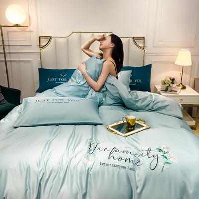 2020新款-水洗真絲四件套 床單款四件套1.5m(5英尺)床 小雛菊-繁星藍