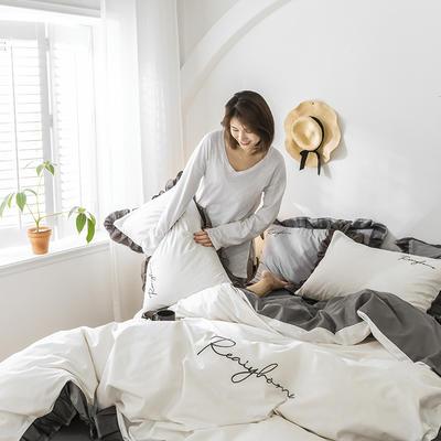 2020新款-全棉40S貢緞蕾絲刺繡四件套 床單款三件套1.2m(4英尺)床 蕾絲本白