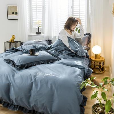 2020新款-全棉40S貢緞蕾絲刺繡四件套 床單款三件套1.2m(4英尺)床 蕾絲賓利藍
