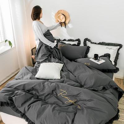 2020新款-全棉40S貢緞蕾絲刺繡四件套 床單款三件套1.2m(4英尺)床 蕾絲高級灰