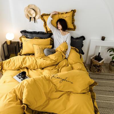 2020新款-全棉40S貢緞蕾絲刺繡四件套 床單款三件套1.2m(4英尺)床 蕾絲姜黃