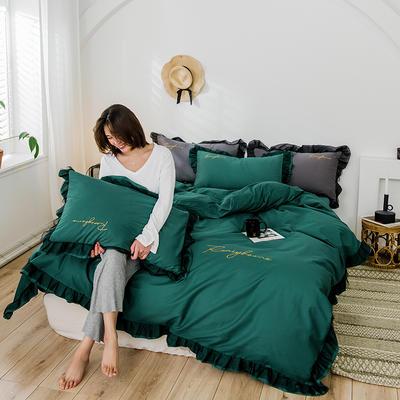 2020新款-全棉40S貢緞蕾絲刺繡四件套 床單款三件套1.2m(4英尺)床 蕾絲墨綠