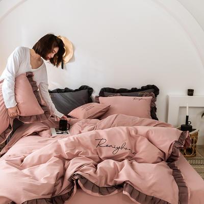 2020新款-全棉40S貢緞蕾絲刺繡四件套 床單款三件套1.2m(4英尺)床 蕾絲淺豆沙