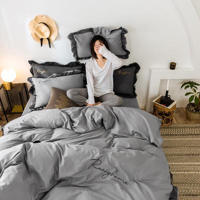 2020新款-全棉40S貢緞蕾絲刺繡四件套 床單款三件套1.2m(4英尺)床 蕾絲淺灰