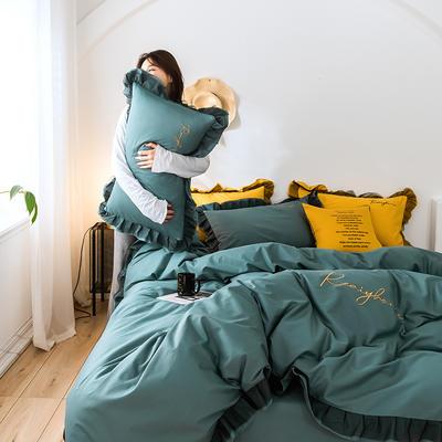 2020新款-全棉40S貢緞蕾絲刺繡四件套 床單款三件套1.2m(4英尺)床 蕾絲淺石藍