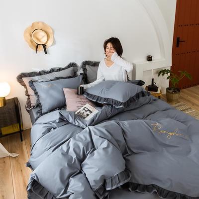 2020新款-全棉40S貢緞蕾絲刺繡四件套 床單款三件套1.2m(4英尺)床 蕾絲紫灰