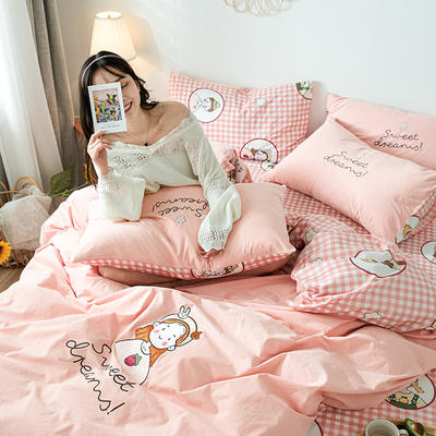 2020新款-全棉水洗棉印加绣四件套 床单款四件套1.5m(5英尺)床 花花女孩