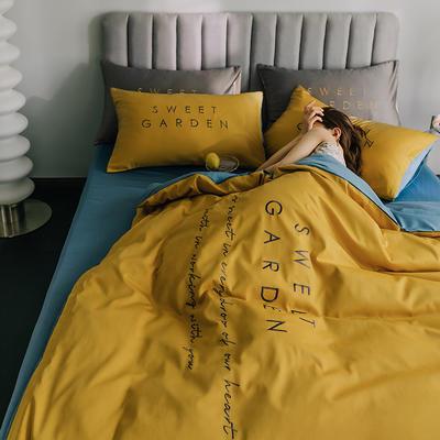 2020新款-40S全棉Sweet系列四件套 床单款四件套1.5m(5英尺)床 Sweet姜黄+宾利蓝