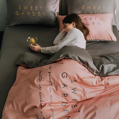 2020新款-40S全棉Sweet系列四件套 床单款四件套1.5m(5英尺)床 Sweet浅豆沙+绅士灰